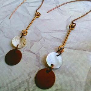 Raw Copper Disc Earrings, Long Shell Earrings